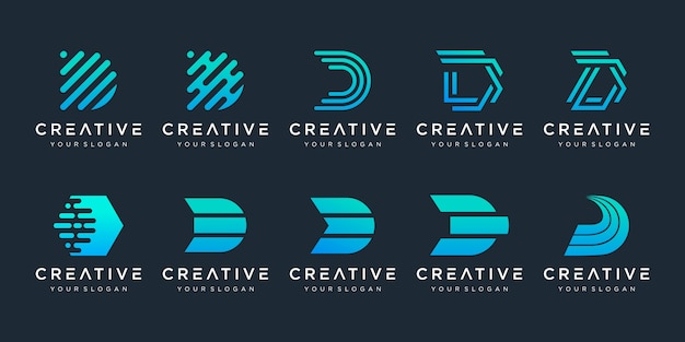 Set of creative abstract initial letter d logo design template.