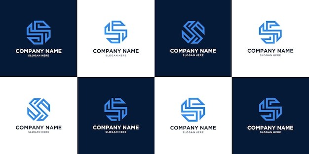 Set of creative abstract letter s logo design. circle concept