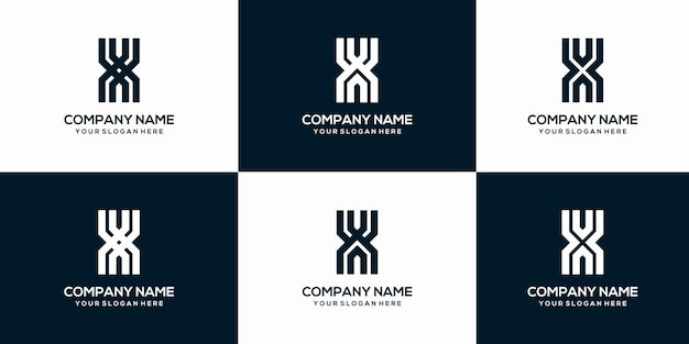 Set of creative abstract letter x monogram logo design template