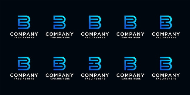 Set of creative abstract monogram letter b and etc logo design template