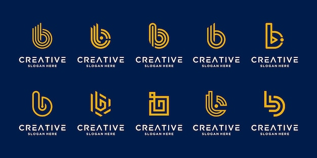 Set of creative abstract monogram letter b logo design collection.