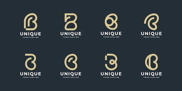 Set of creative abstract monogram letter b logo design
