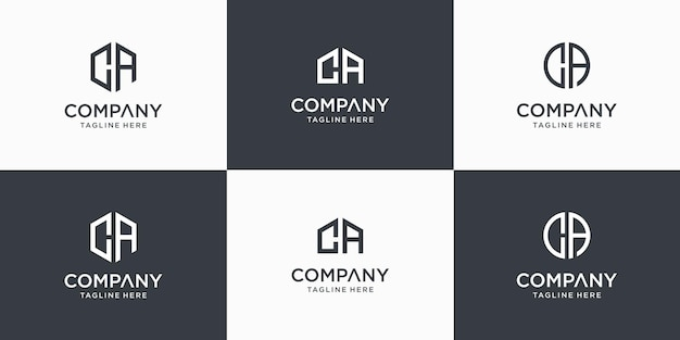 Set of creative abstract monogram letter ca logo design template