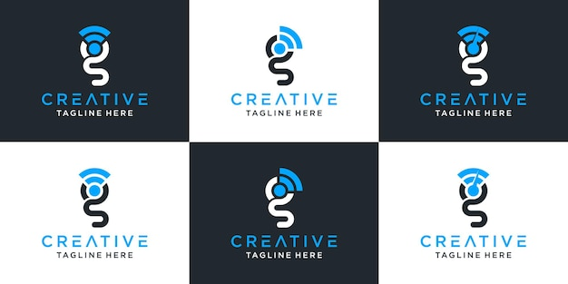 Set of creative abstract monogram letter g and signal logo design inspiration