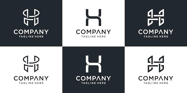 Set of creative abstract monogram letter h logo design inspiration