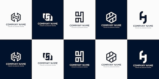 Set of creative abstract monogram letter h logo design template
