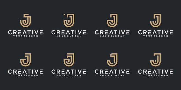 Set of creative abstract monogram letter j logo design collection