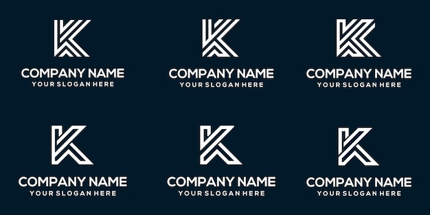 Set of creative abstract monogram letter k logo design template