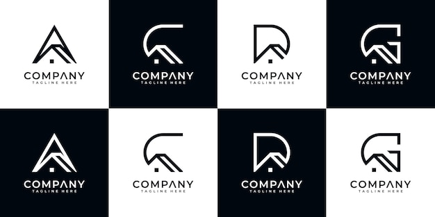 Set of creative abstract monogram letter logo design with house style template