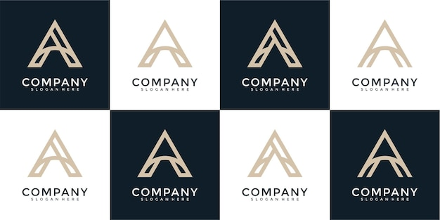 Set of creative abstract monogram letter a logo design