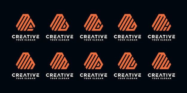 Set of creative abstract monogram letter m logo design template