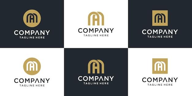 Set of creative abstract monogram letter ma logo design inspiration