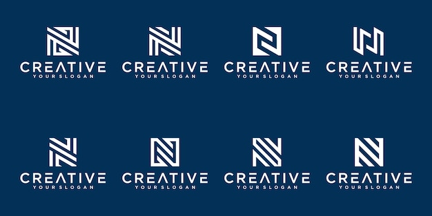 Set of creative abstract monogram letter n logo design collection