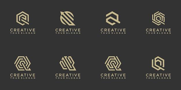 Set of creative abstract monogram letter q logo design