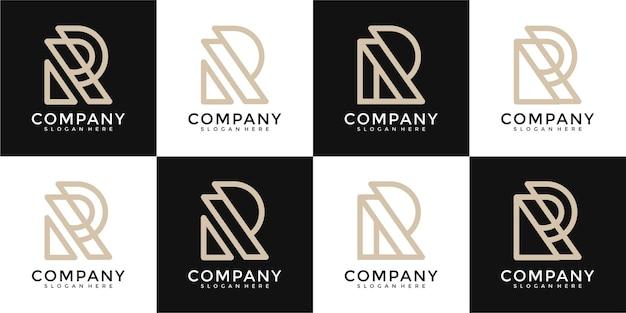 Set of creative abstract monogram letter r logo design inspiration