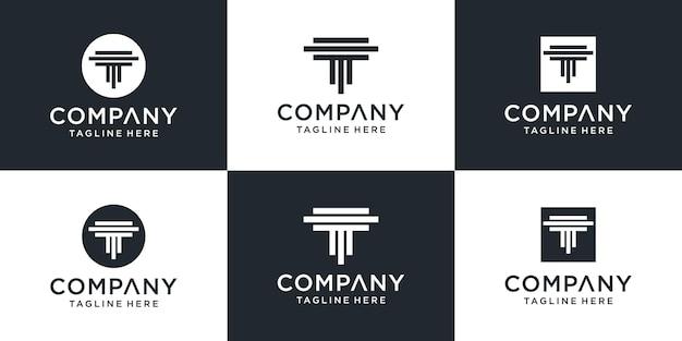 Set of creative abstract monogram letter t logo design inspiration