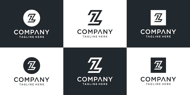 Set of creative abstract monogram letter z and number one logo  template