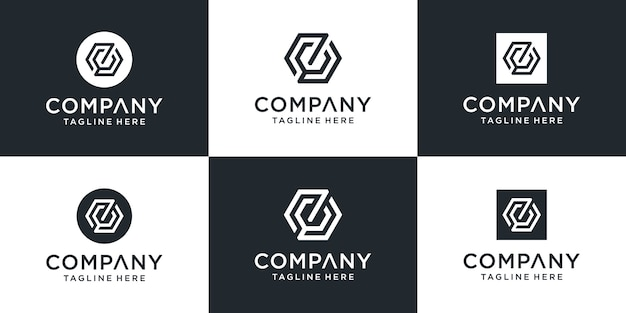 Set of creative abstract monogram letter zc logo  template