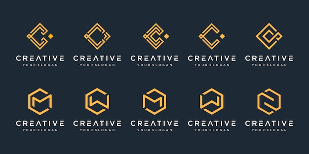 Set of creative abstract monogram logo design template. logotypes for business of luxury, elegant, simple. letter c, letter m.