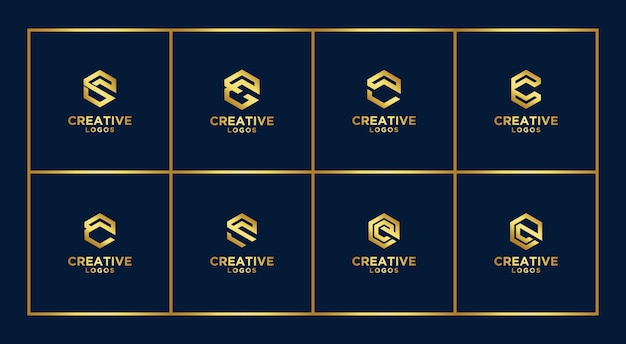 Set of creative abstract monogram logo design template. logotypes for business of luxury, elegant, simple. letter c
