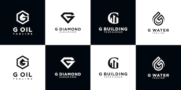Set of creative abstract monogram logo design template. logotypes for business of luxury, elegant, simple. letter g