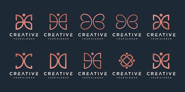 Set of creative abstract monogram logo .