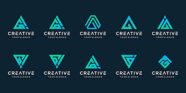 Set of creative abstract monogram logo.