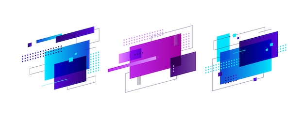 Set of creative abstract shapes banner
