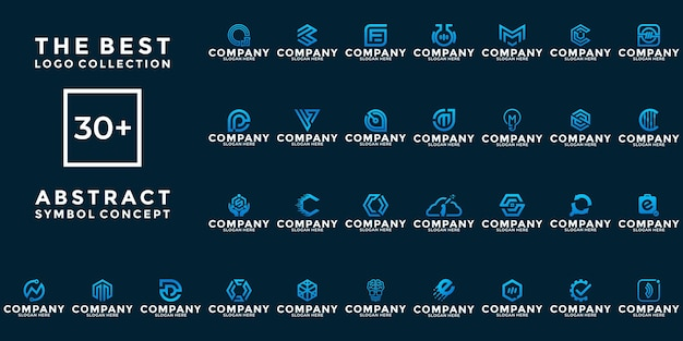 Set of creative abstract symbol for your brand and business
