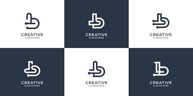 Set creative b abstract designcreative monogram b with dot tech and line art stylepremium vector