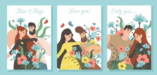 Set creative banners for loving couple dating