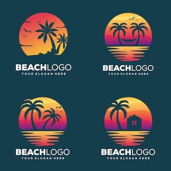 창조적 인 해변과 야자수 로고 디자인 설정