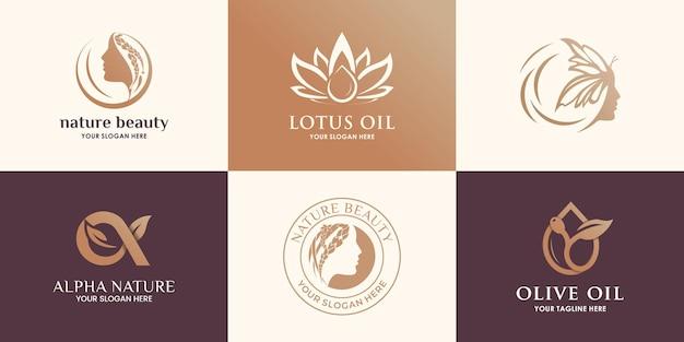 套创造性的秀丽自然,橄榄油,花和叶子