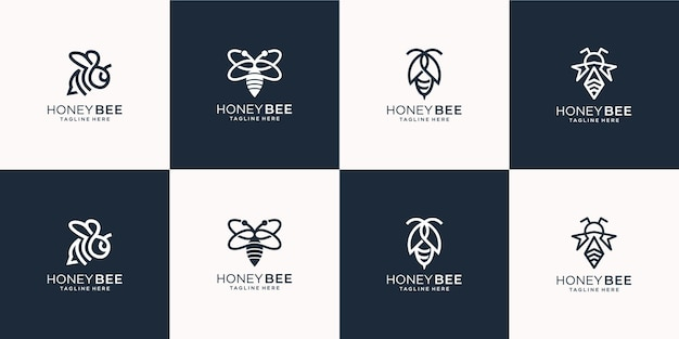 Set of creative bee logo line art style.  for business company,honey,bee ,hive ,herb,illustration  template . Premium Vector