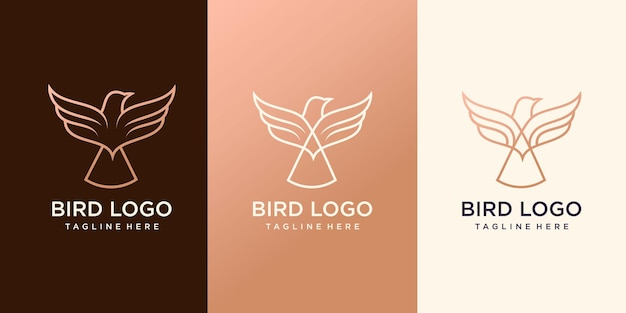 Set of creative bird line logo premium vector