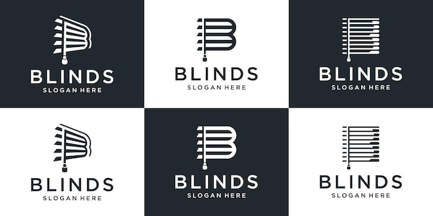Set of creative blinds with letter b logo design collection.
