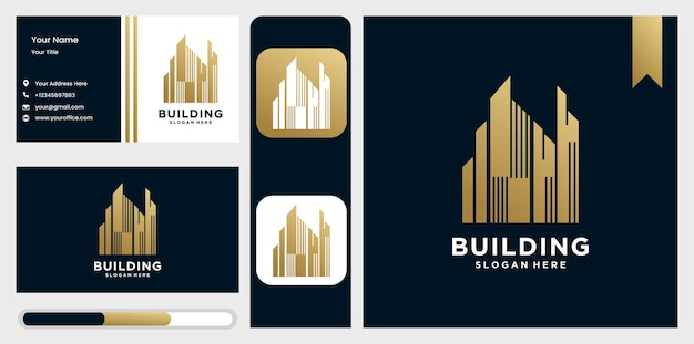 Set creative buiding architect home logo,  of architectural design and construction
