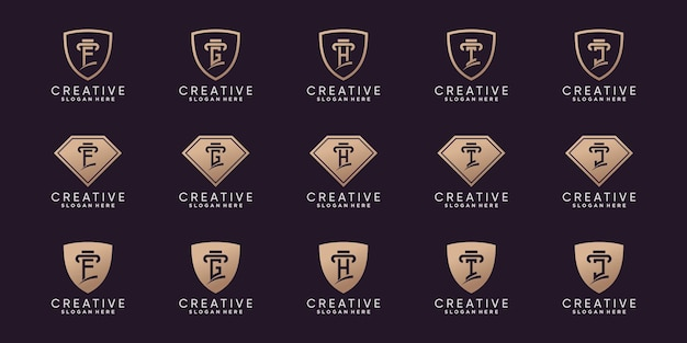 Set of creative bundle monogram logo design initial letter f to j with line art and negative space concept . premium vector