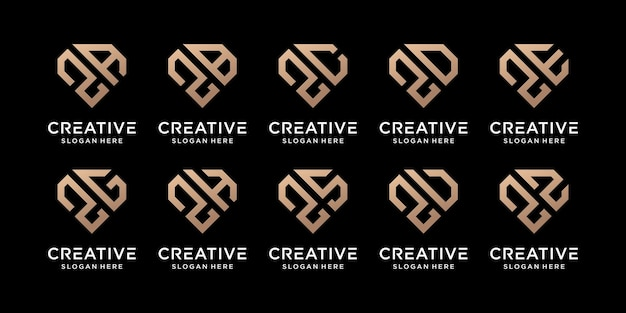 Set of creative bundle monogram logo design template initial letter z combined with other. icons for business company and personal. premium vector