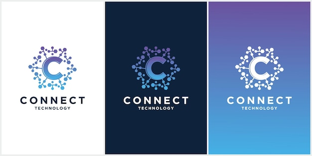 Set creative c letter with dot circle connected as network logo technology
