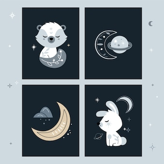 Set of creative cards with crescent moon and planets.