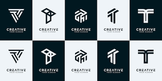 크리에이 티브 컬렉션 편지 t 로고 디자인 템플릿을 설정합니다.