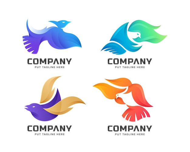 Set of creative colorful bird flying logo template