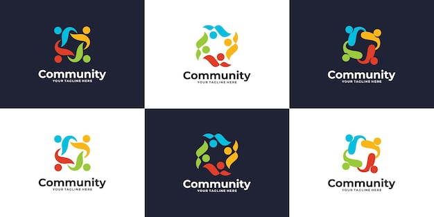 Set of creative colorful social group logo