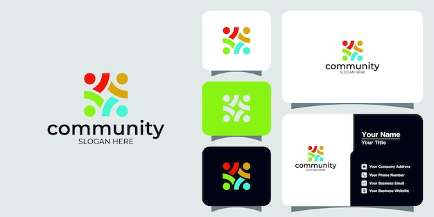 Set of creative colorful social group logos and business cards