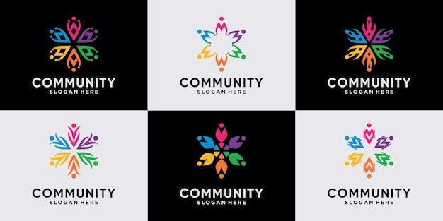 Set of creative community logo design collection for team and people family