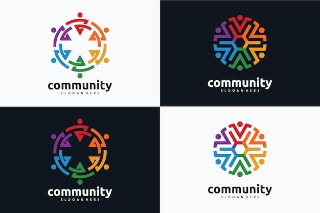 Set of creative community logo template