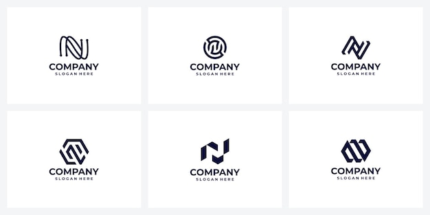 Set of creative company logo design ideas letter n monogram