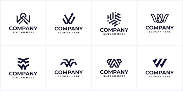 Set of creative company logo design ideas letter w monogram