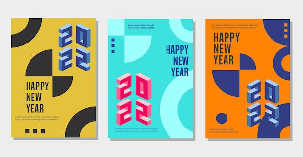 Set of creative concept logo design of 2022 happy new year posters cover templates banners